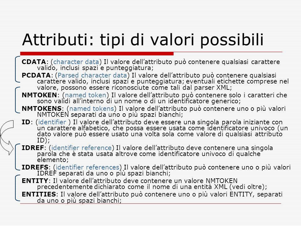 Attributi: tipi di valori possibili