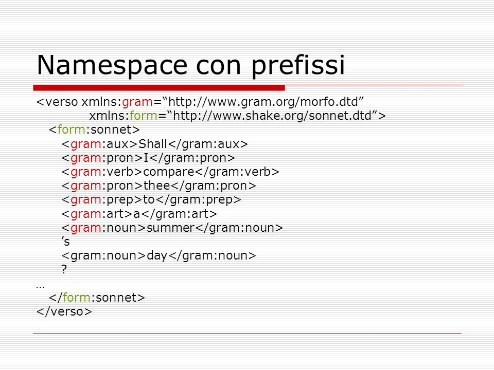 Namespace con prefissi