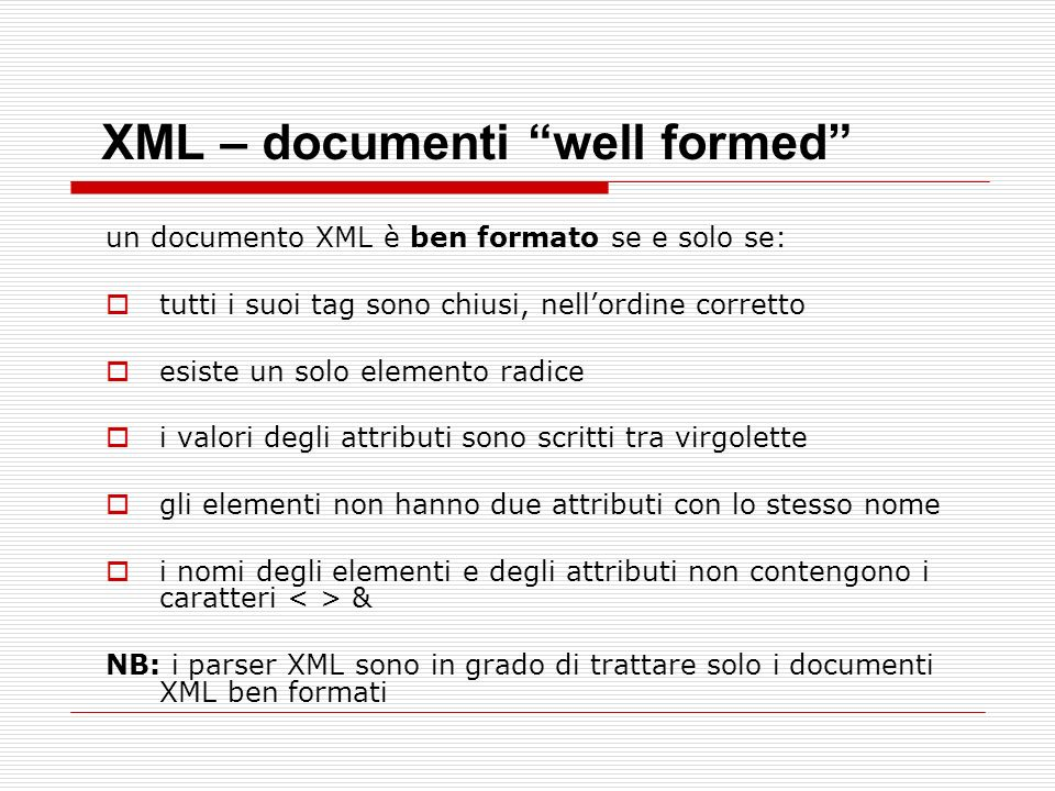 XML – documenti well formed