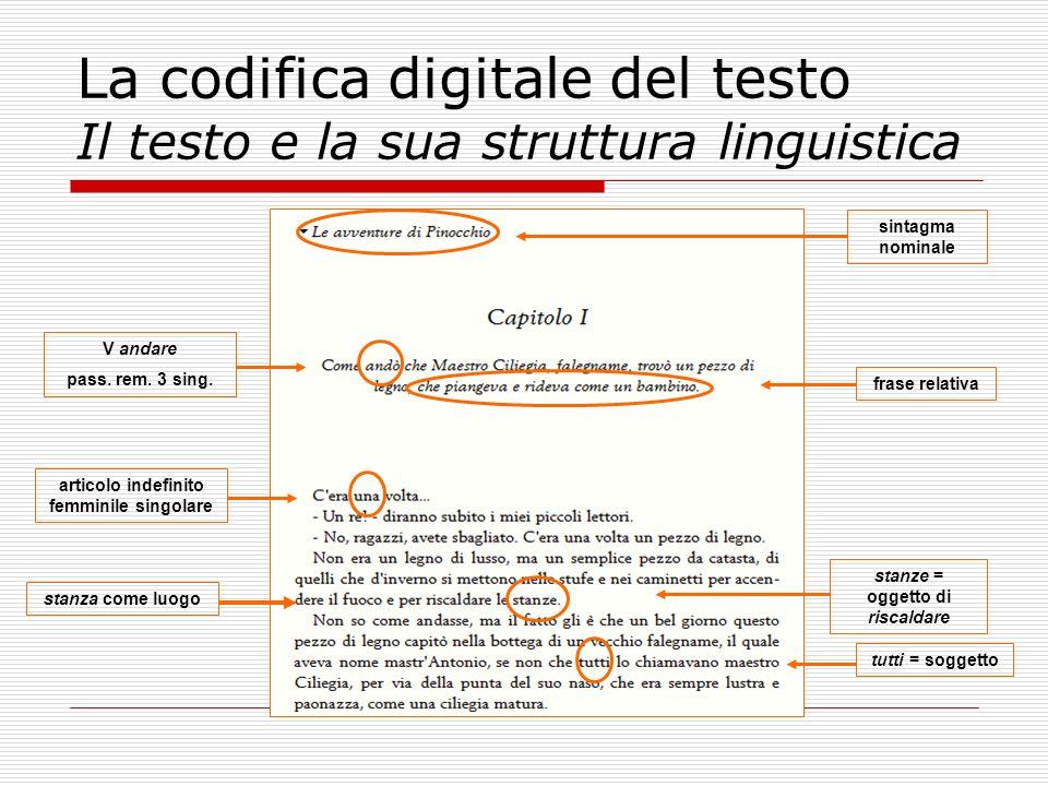 La codifica digitale del testo Il testo e la sua struttura linguistica