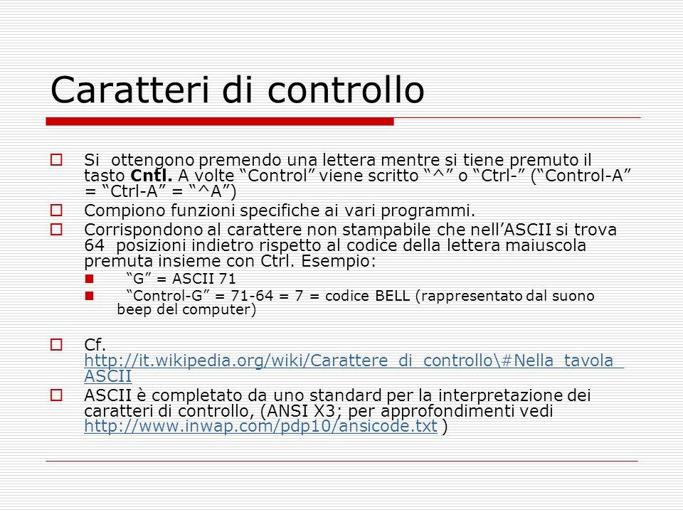 Caratteri di controllo