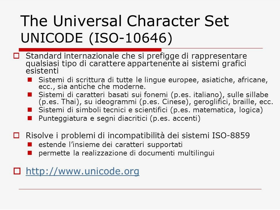 The Universal Character Set UNICODE (ISO-10646)