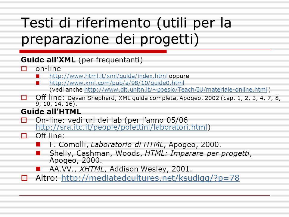 Testi di riferimento (utili per la preparazione dei progetti)
