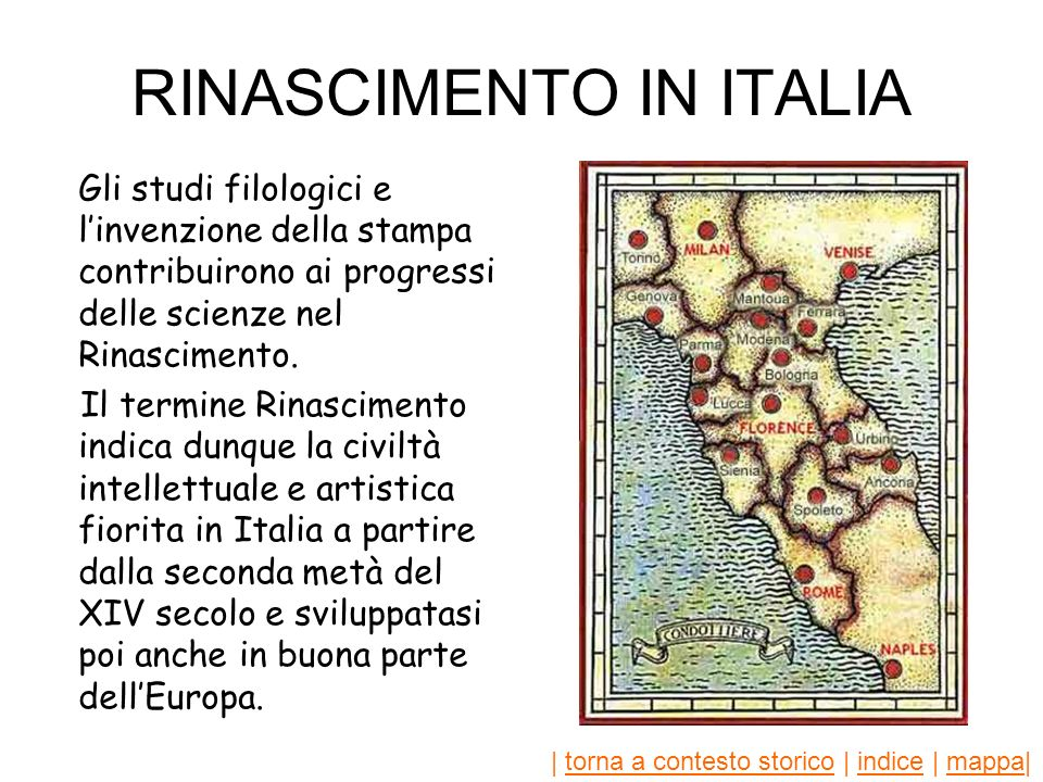 RINASCIMENTO IN ITALIA