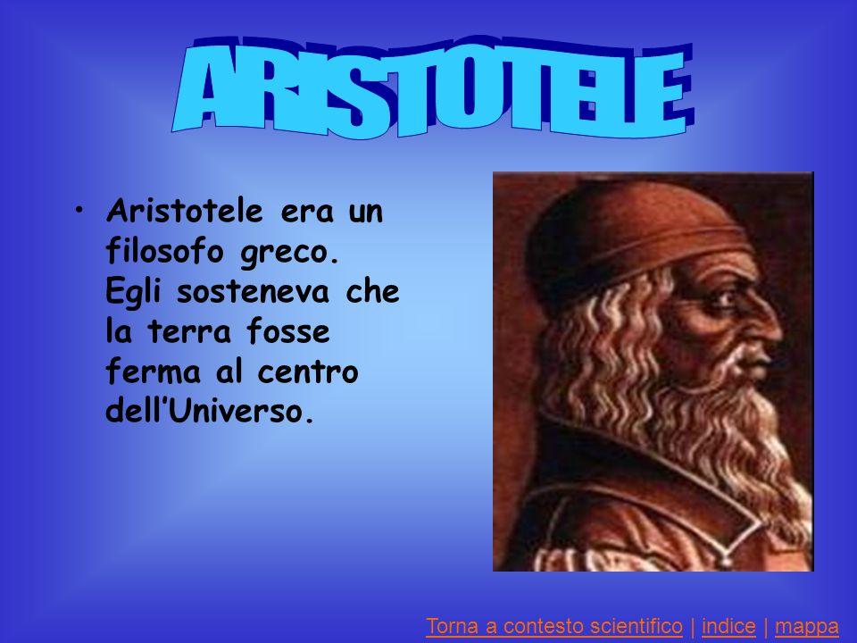 ARISTOTELE Aristotele era un filosofo greco. Egli sosteneva che la terra fosse ferma al centro dell'Universo.