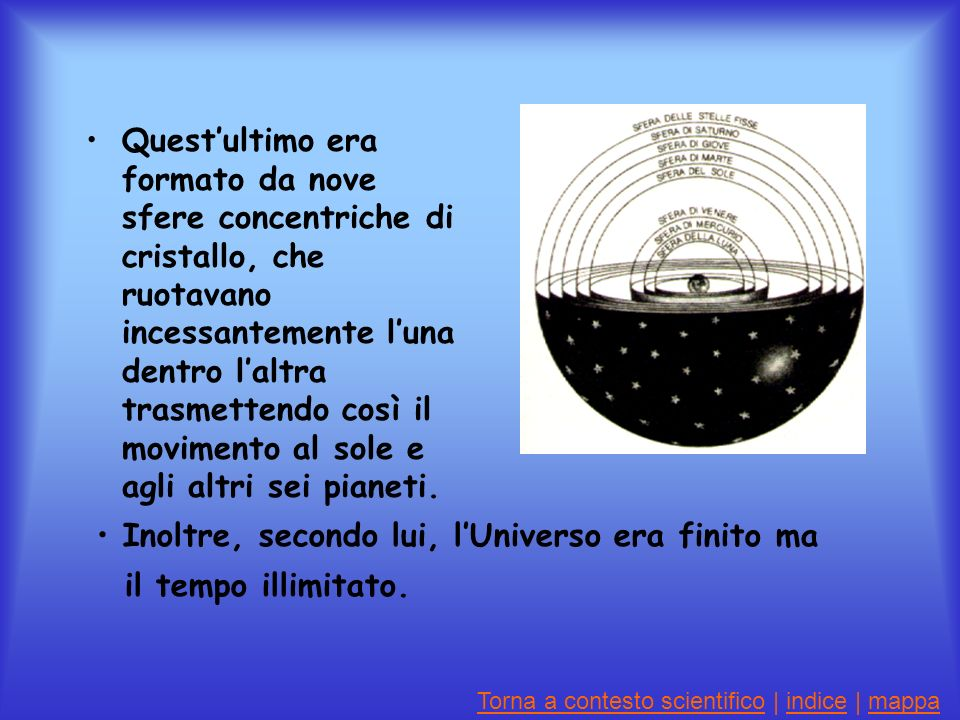 Inoltre, secondo lui, l'Universo era finito ma il tempo illimitato.
