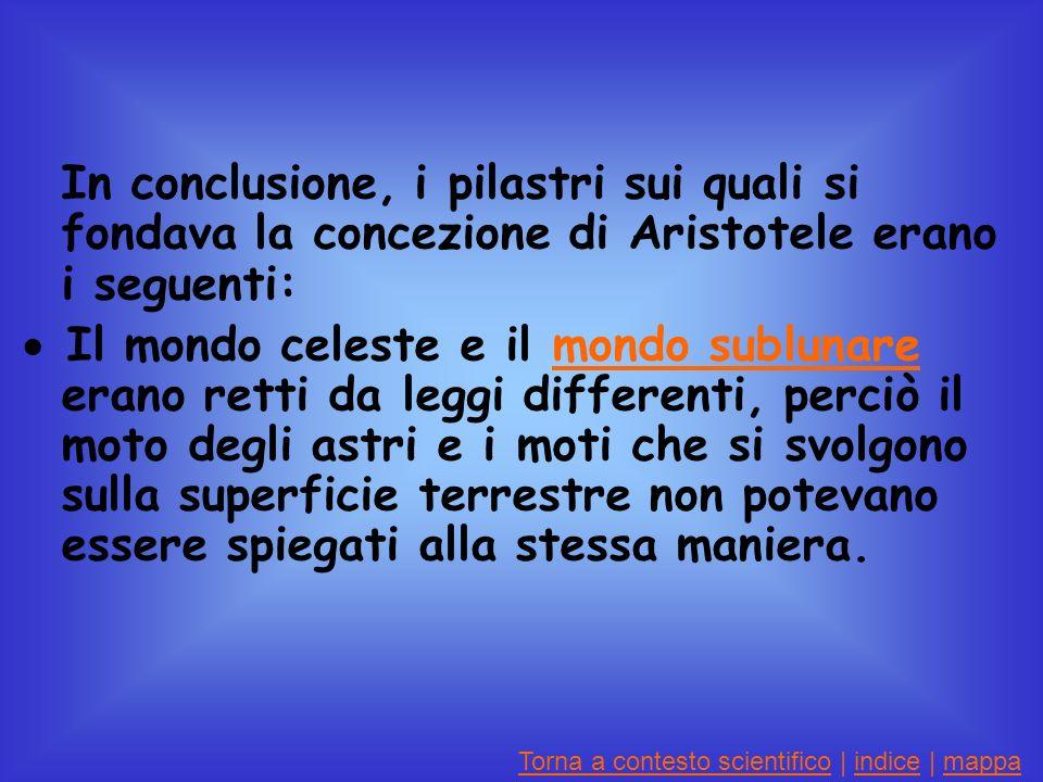 In conclusione, i pilastri sui quali si fondava la concezione di Aristotele erano i seguenti: