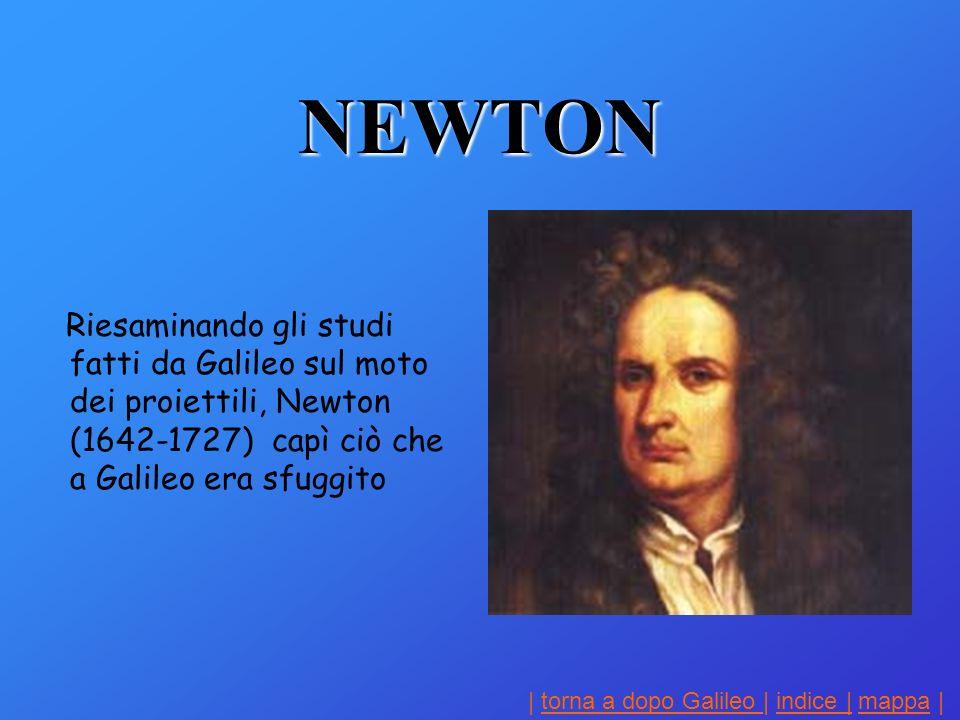 NEWTON Riesaminando gli studi fatti da Galileo sul moto dei proiettili, Newton (1642-1727) capì ciò che a Galileo era sfuggito.