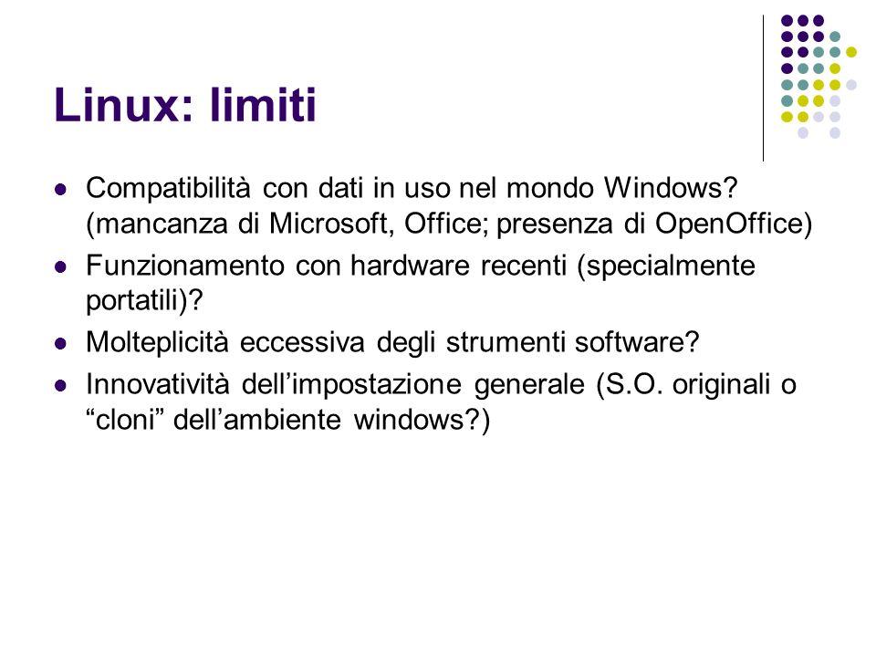 Linux: limiti Compatibilità con dati in uso nel mondo Windows (mancanza di Microsoft, Office; presenza di OpenOffice)