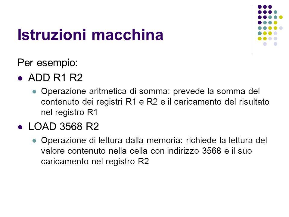 Istruzioni macchina Per esempio: ADD R1 R2 LOAD 3568 R2