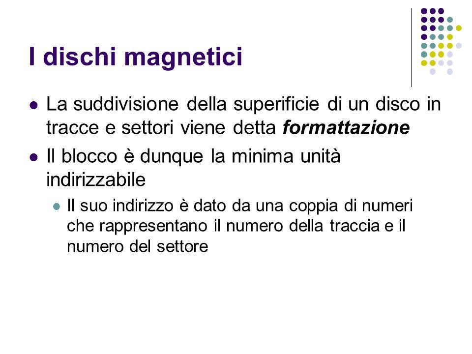 I dischi magnetici La suddivisione della superificie di un disco in tracce e settori viene detta formattazione.