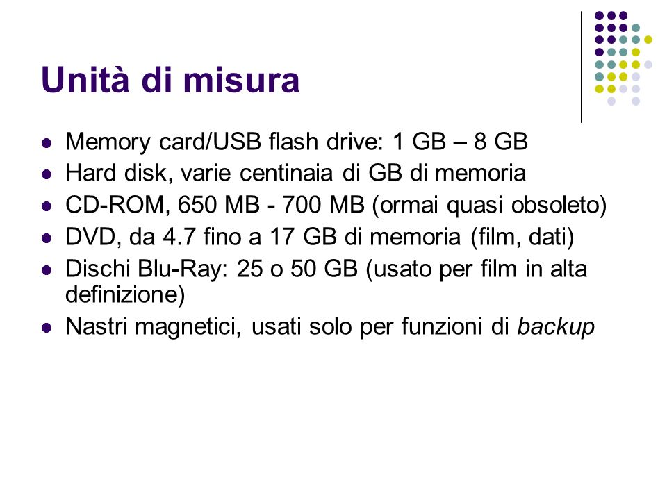 Unità di misura Memory card/USB flash drive: 1 GB – 8 GB