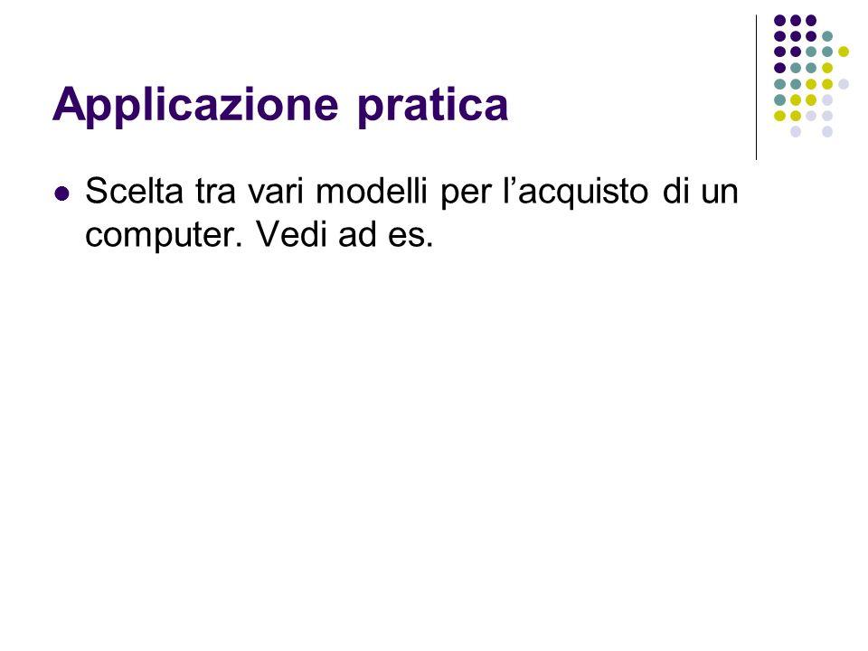 Applicazione pratica Scelta tra vari modelli per l'acquisto di un computer. Vedi ad es.