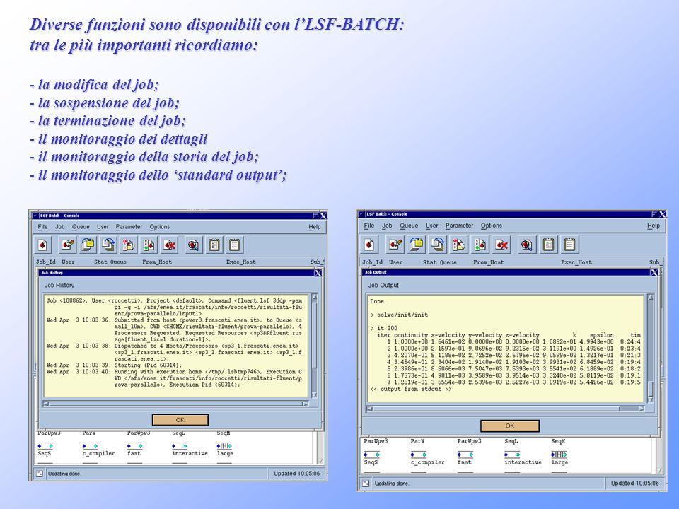 Diverse funzioni sono disponibili con l'LSF-BATCH: