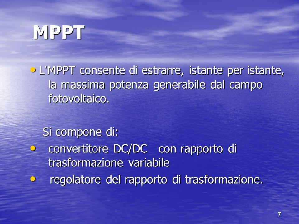 MPPT L'MPPT consente di estrarre, istante per istante, la massima potenza generabile dal campo fotovoltaico.