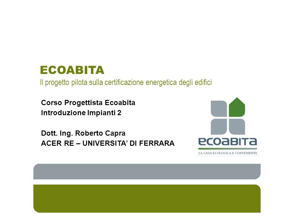 ECOABITA Il progetto pilota sulla certificazione energetica degli edifici. Corso Progettista Ecoabita.