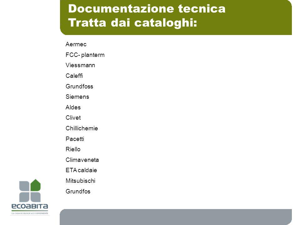 Documentazione tecnica Tratta dai cataloghi: