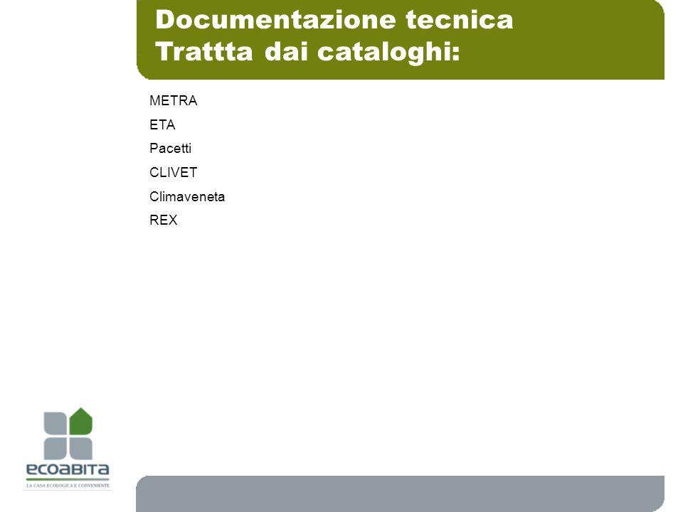 Documentazione tecnica Trattta dai cataloghi: