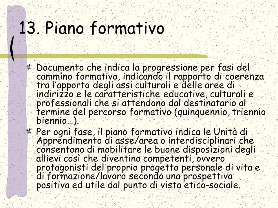 13. Piano formativo