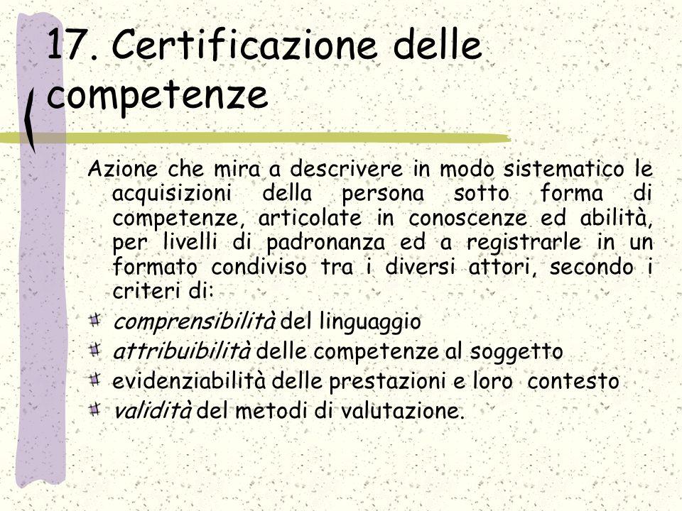 17. Certificazione delle competenze