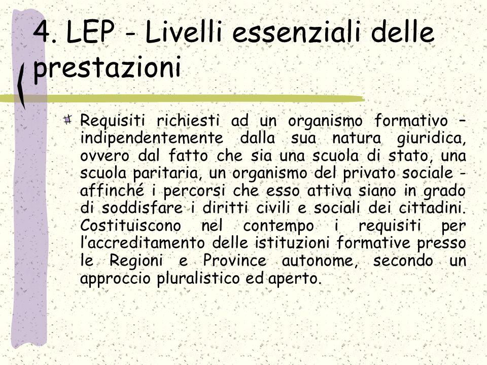 4. LEP - Livelli essenziali delle prestazioni