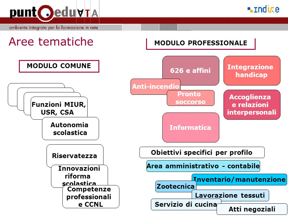 Aree tematiche MODULO PROFESSIONALE Integrazione MODULO COMUNE