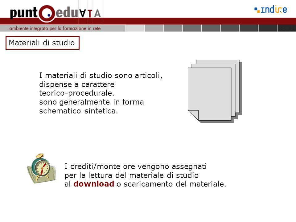 Materiali di studio I materiali di studio sono articoli, dispense a carattere. teorico-procedurale.