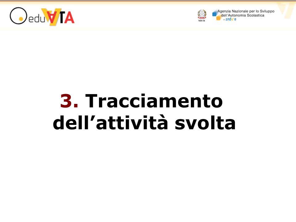 3. Tracciamento dell'attività svolta
