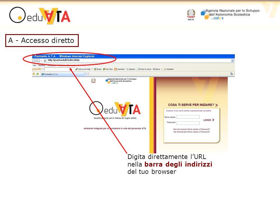 A - Accesso diretto Digita direttamente l'URL