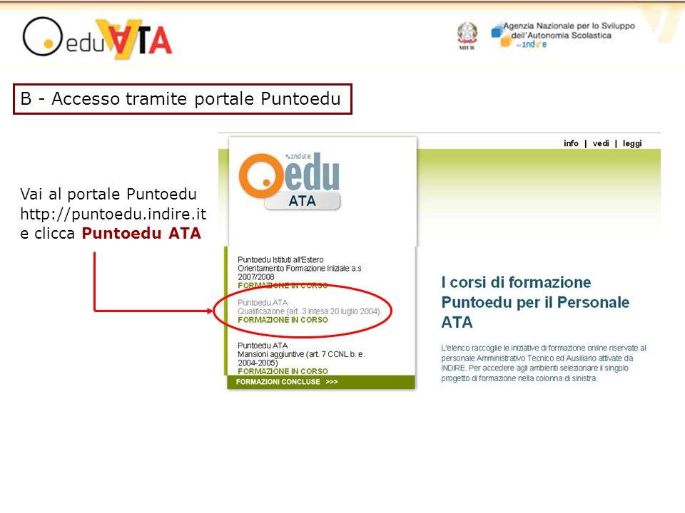 B - Accesso tramite portale Puntoedu