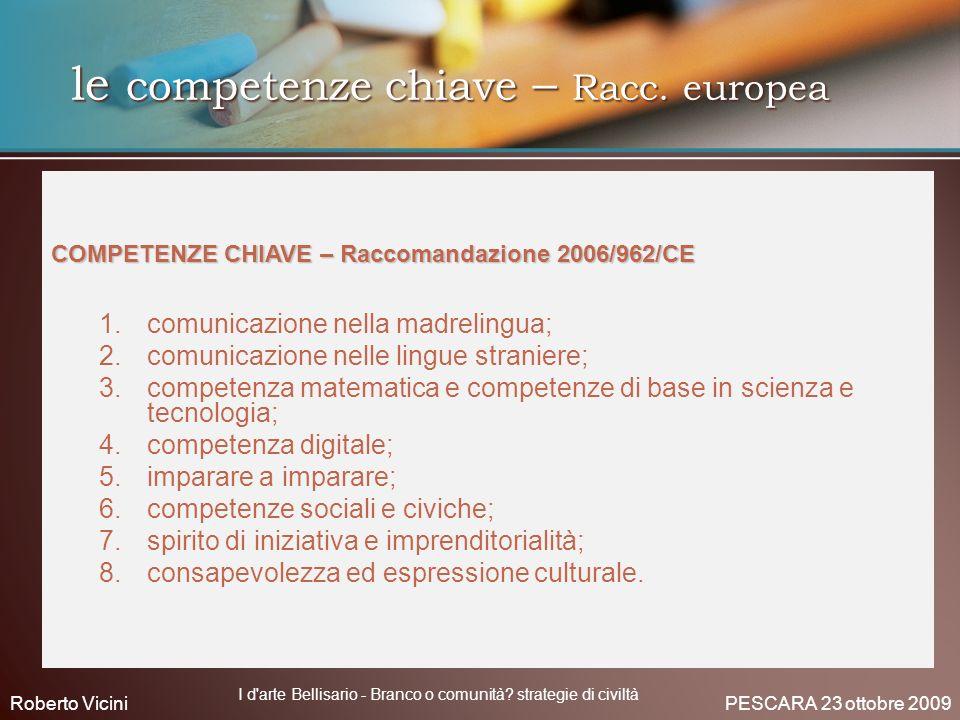 le competenze chiave – Racc. europea