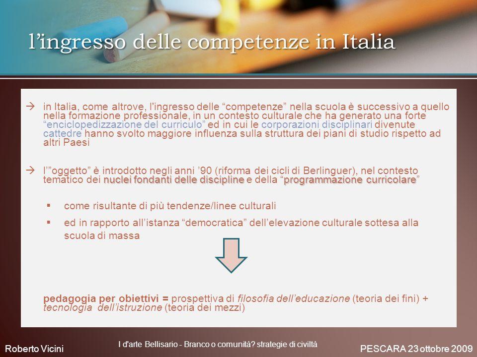 l'ingresso delle competenze in Italia