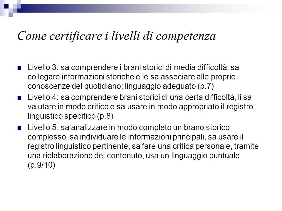 Come certificare i livelli di competenza