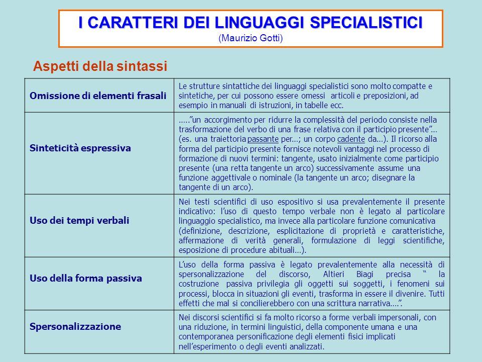 I CARATTERI DEI LINGUAGGI SPECIALISTICI (Maurizio Gotti)