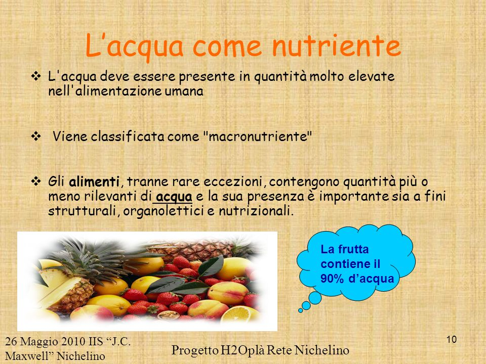 L'acqua come nutriente