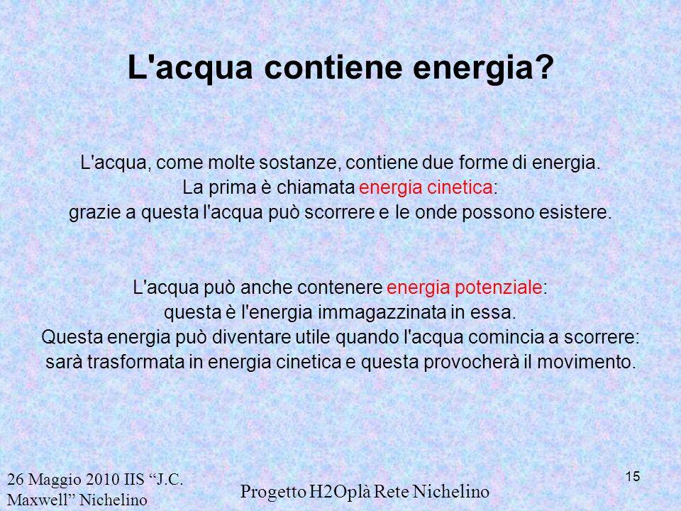 L acqua contiene energia