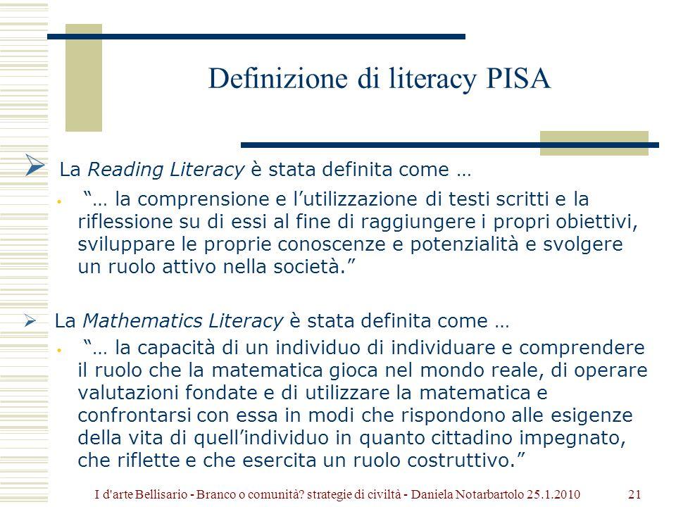Definizione di literacy PISA