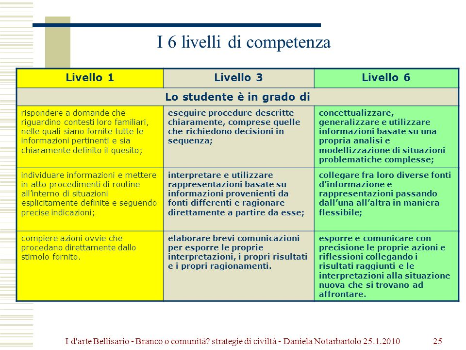 I 6 livelli di competenza