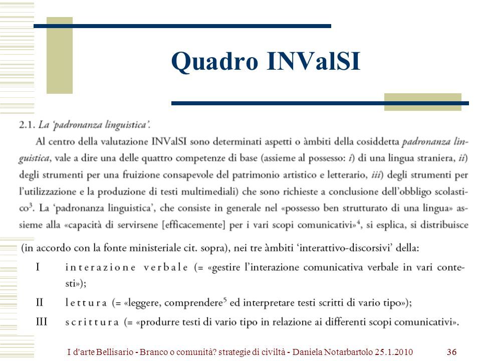 Quadro INValSI I d arte Bellisario - Branco o comunità strategie di civiltà - Daniela Notarbartolo 25.1.2010.