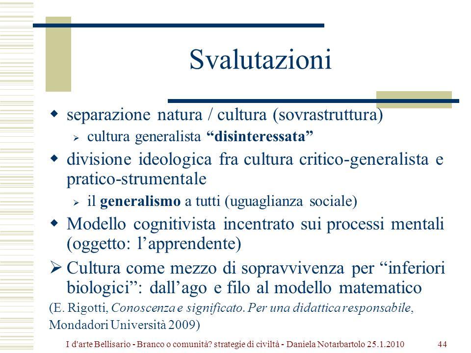 Svalutazioni separazione natura / cultura (sovrastruttura)