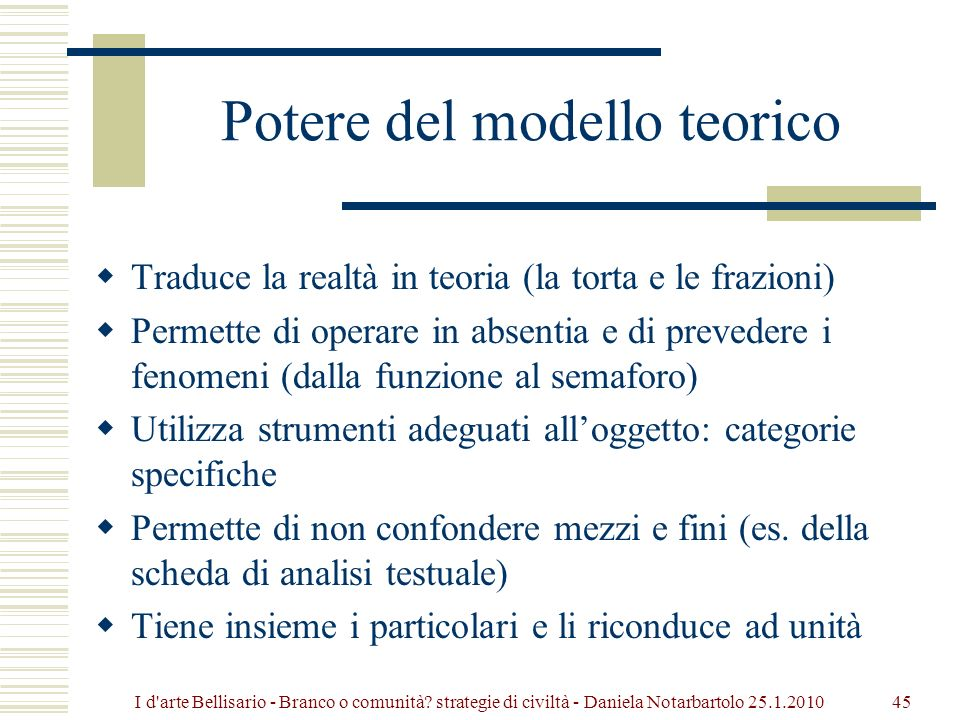 Potere del modello teorico