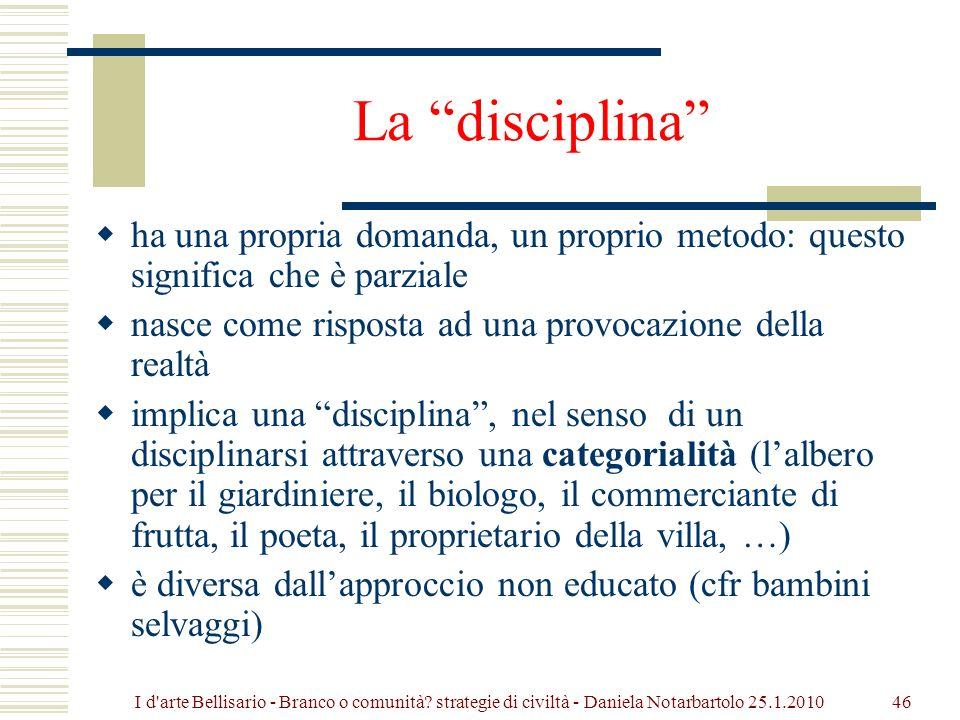 La disciplina ha una propria domanda, un proprio metodo: questo significa che è parziale. nasce come risposta ad una provocazione della realtà.
