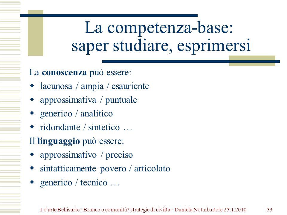 La competenza-base: saper studiare, esprimersi