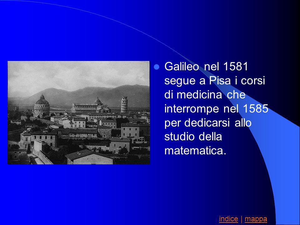 Galileo nel 1581 segue a Pisa i corsi di medicina che interrompe nel 1585 per dedicarsi allo studio della matematica.