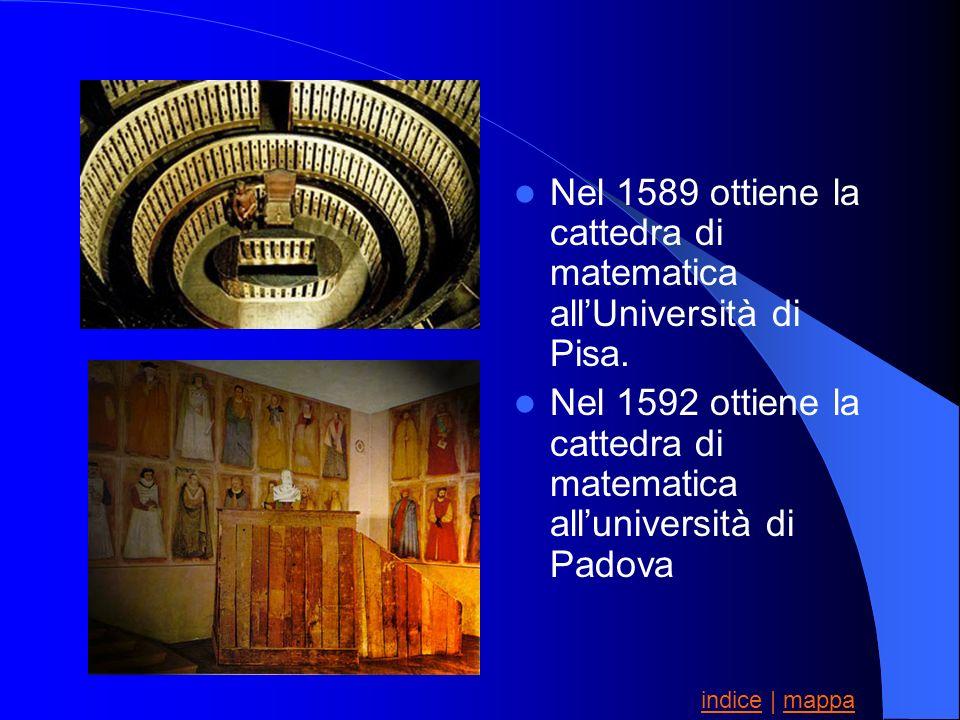 Nel 1589 ottiene la cattedra di matematica all'Università di Pisa.