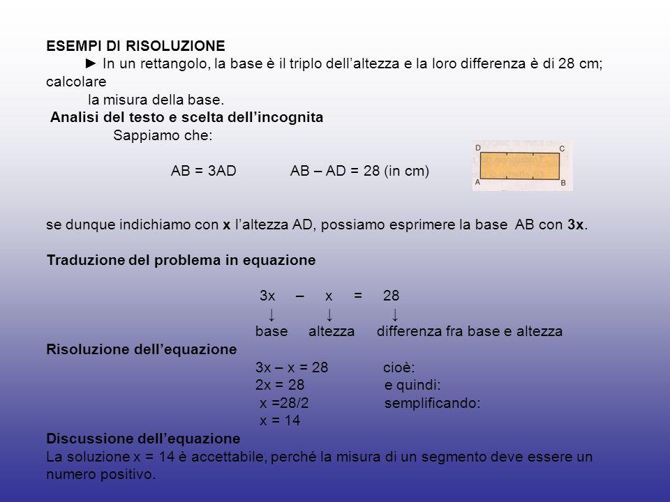 ESEMPI DI RISOLUZIONE► In un rettangolo, la base è il triplo dell'altezza e la loro differenza è di 28 cm; calcolare.