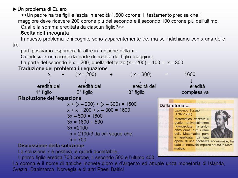 ►Un problema di Eulero<<Un padre ha tre figli e lascia in eredità 1.600 corone. Il testamento precisa che il.