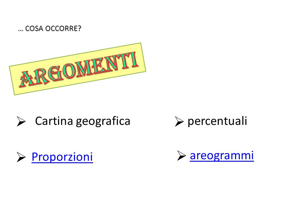 argomenti Cartina geografica percentuali Proporzioni areogrammi