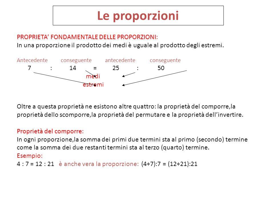 Le proporzioni PROPRIETA' FONDAMENTALE DELLE PROPORZIONI: