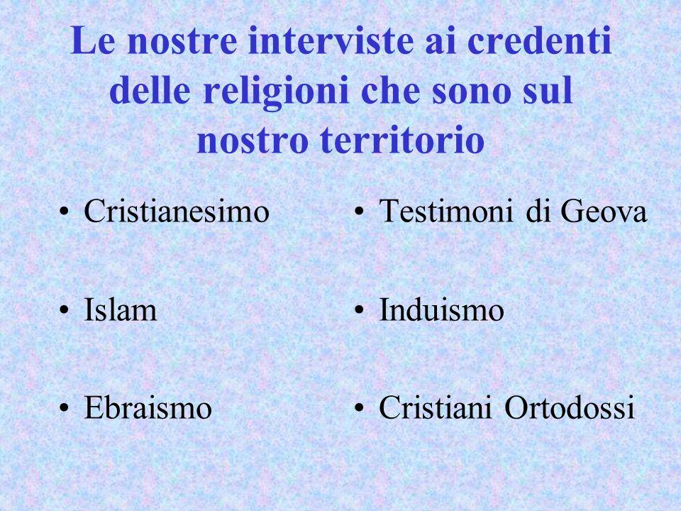 Le nostre interviste ai credenti delle religioni che sono sul nostro territorio